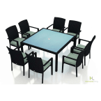 Harmonia Living Urbana 9-Piece Square Outdoor Dining Set with Arm Chairs & Canvas Spa Cushions
