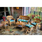 Tortuga Outdoors Portside 6 Piece Seating Set in Amber Wicker with Monti Leaf Cushions