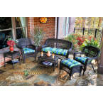 Tortuga Outdoors Portside 6 Piece Seating Set in Dark Roast Wicker with Haliwell Caribbean Cushions
