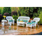 Tortuga Outdoors Portside 6 Piece Seating Set in White Wicker with Monti Leaf Cushions
