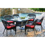 Tortuga Outdoors Portside 7 Piece Dining Set in Dark Roast Wicker with Monti Leaf Cushions