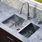 """Vigo All in One 29"""" Undermount Stainless Steel Double Bowl Kitchen Sink and Faucet Set"""