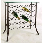 Grace Collection Satin Black 25 Bottle Wine Rack with Glass  Top