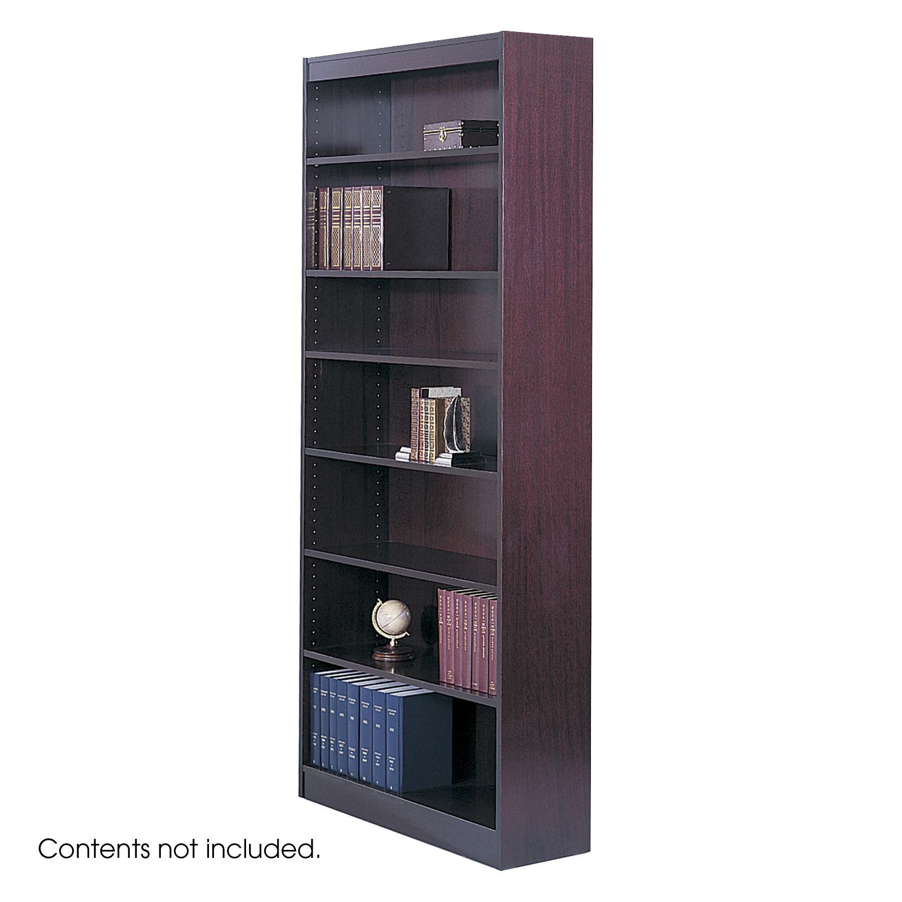 "Square-Edge Mahogany 84"" 7 Shelf Veneer Bookcase"