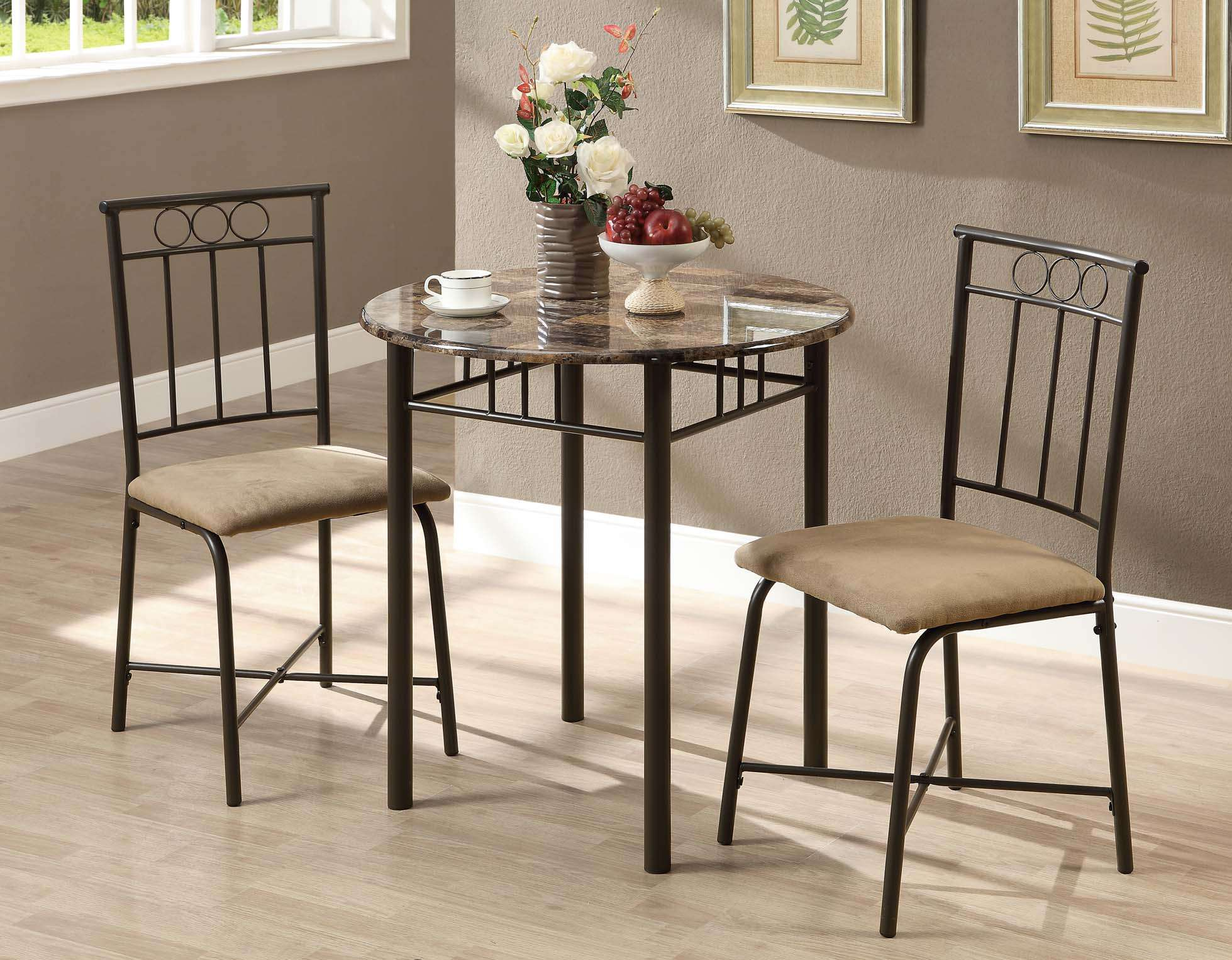 Cappuccino 3 Piece Dining Set with Bronze Frame