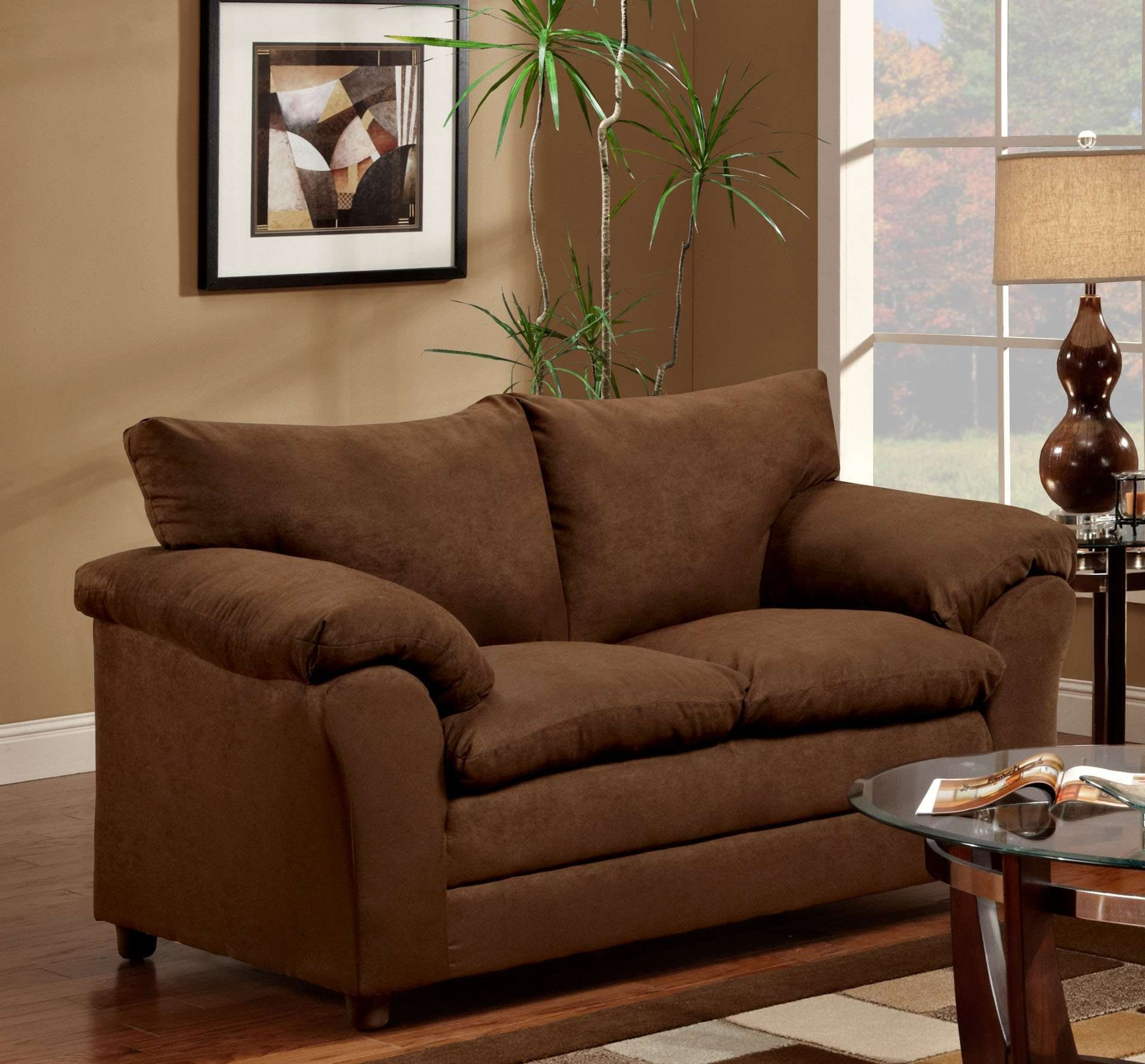 Gail Flatsuede Chocolate Loveseat