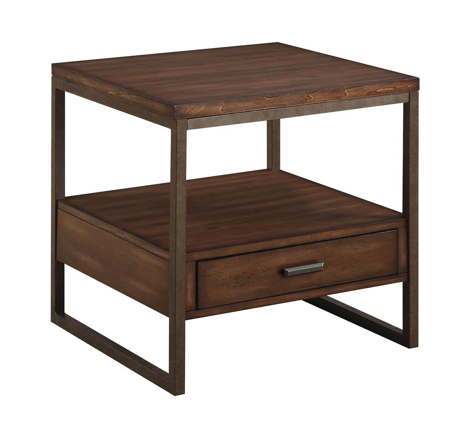 Rustic Brown Square End Table