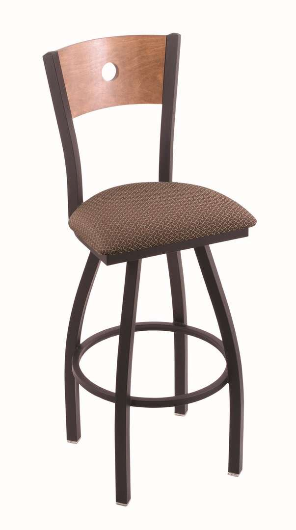 "830 30"" Voltaire Black Wrinkle Swivel Stool with Medium Maple Back and Axis Willow Seat"