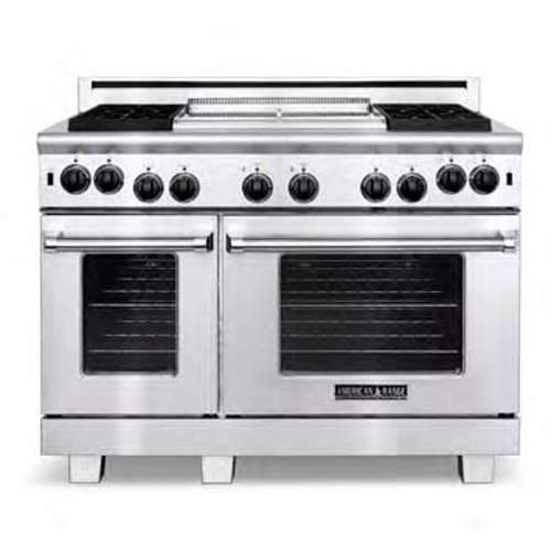 """Heritage Classic 48"""" Stainless Steel Gas Sealed Burner Double Oven Range - Convection"""