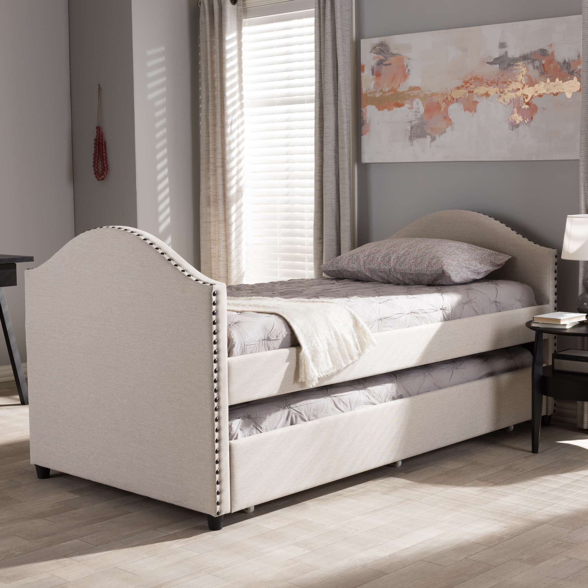 Alessia Contemporary Beige Upholstered Daybed With Trundle