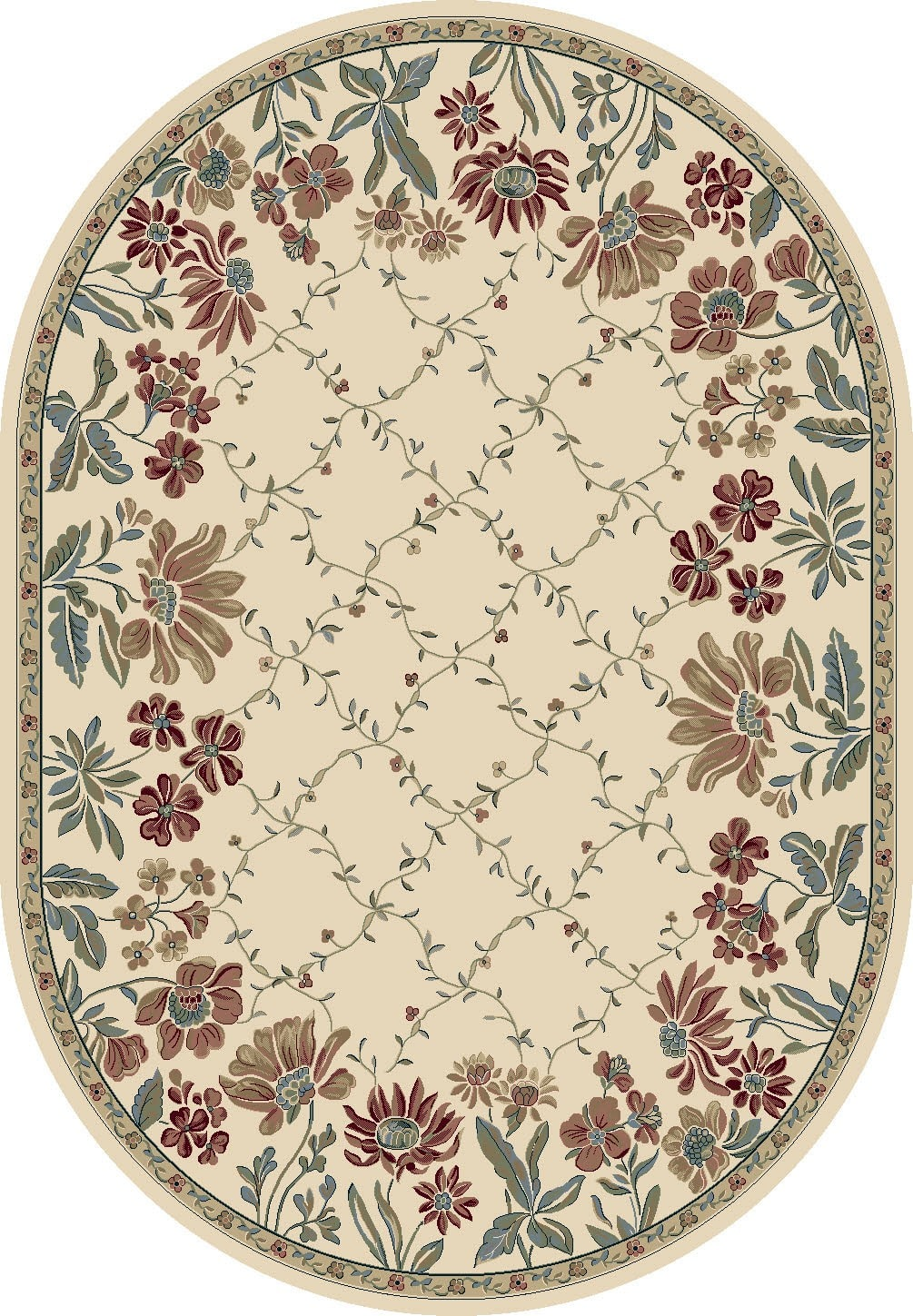 Ancient Garden Ivory Floral 5.3'x7.7' Oval Rug