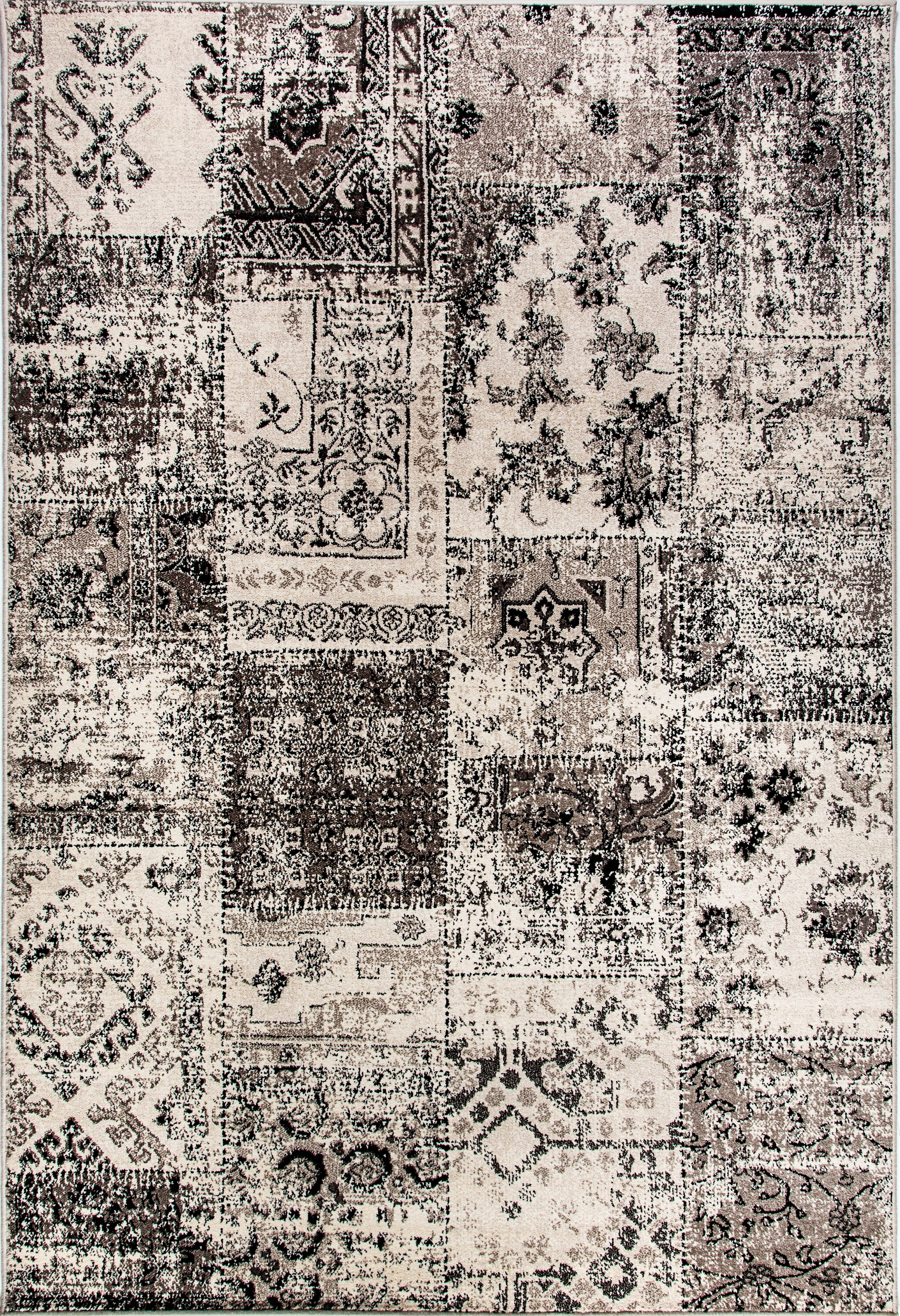 Infinity Black & Silver Distressed 6.7'x9.6' Rectangle Rug