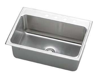 Gourmet Drop In Steel Kitchen Sink DLR3122124 Lustertone (with 4 Faucet Holes)