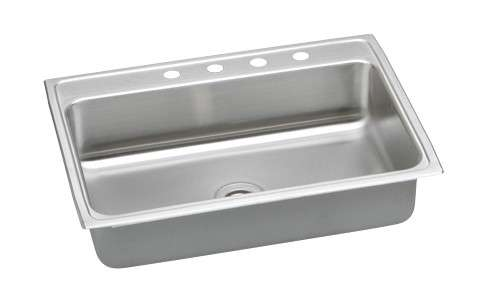 Gourmet Drop In/Self Rimming Steel Kitchen Sink PSR31224 Bright Satin (with 4 Faucet Holes)