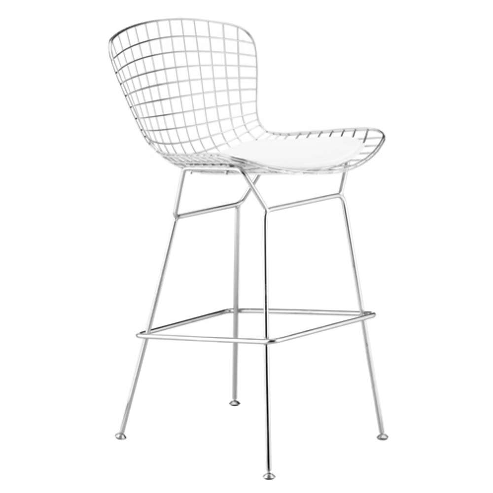 Wire White Bar Height Chair