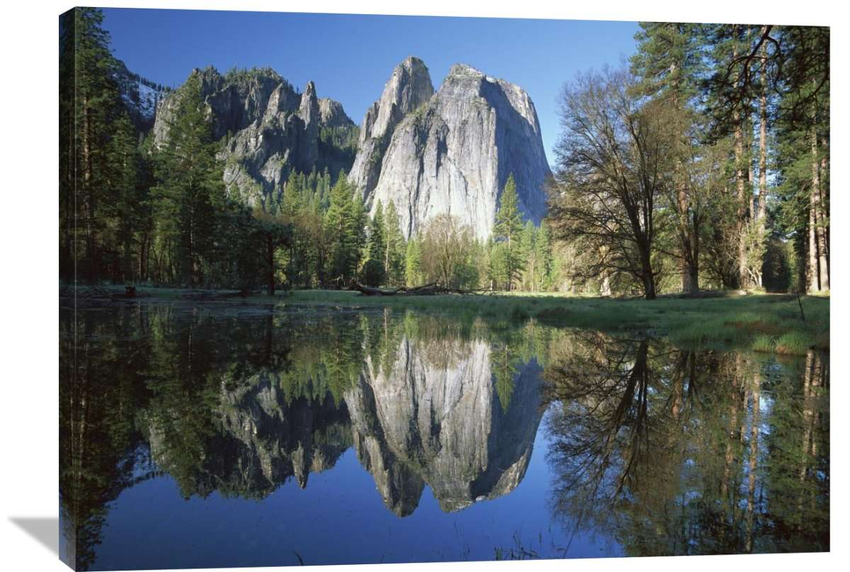 Cathedral Rock Reflected In The Merced River, Yosemite Np, California