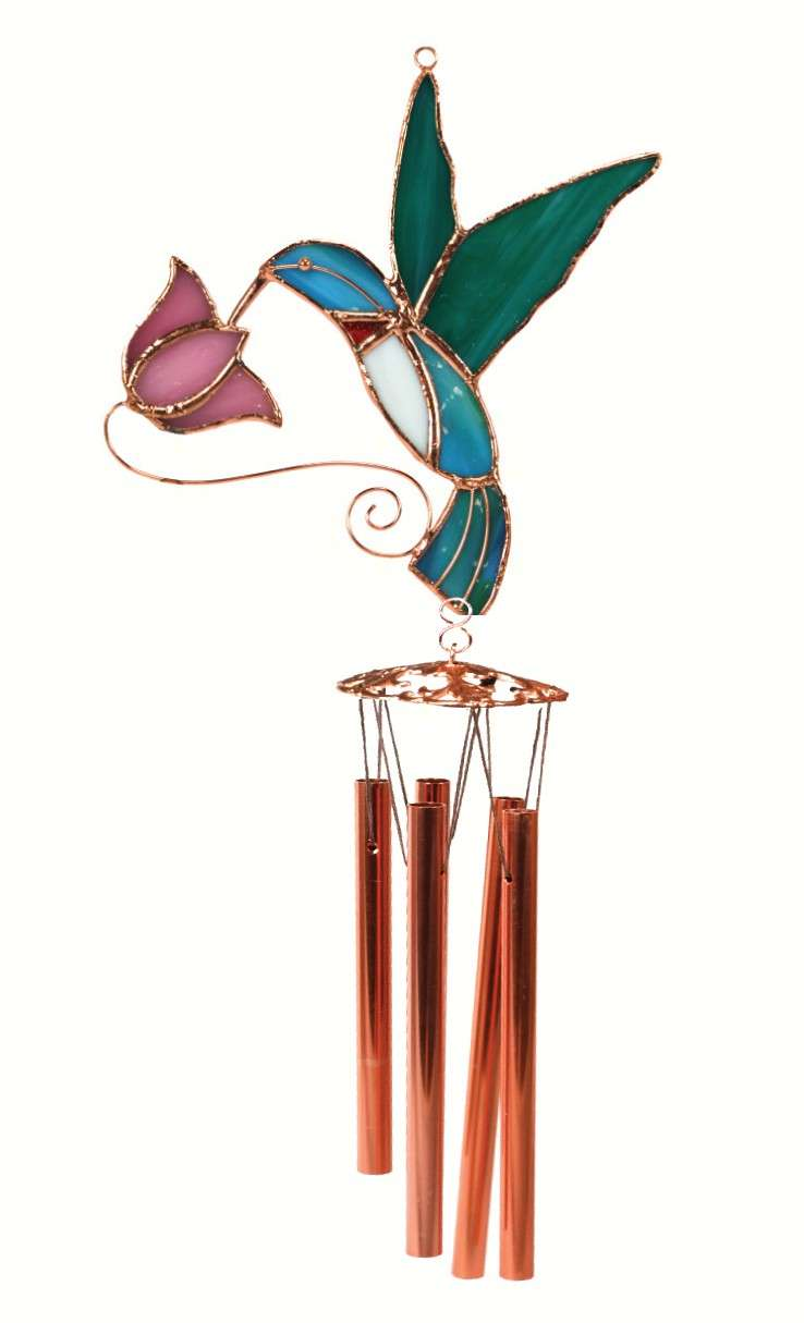 Hummingbird with Pink Flower Wind Chime - Quantity 1
