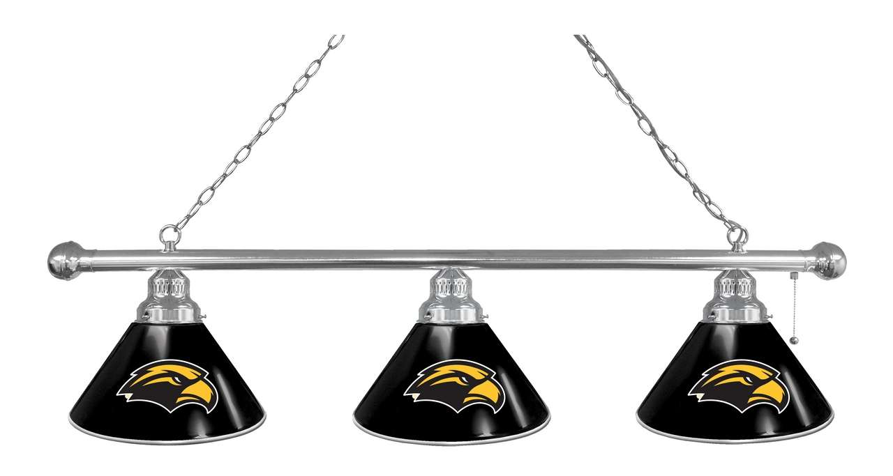 University of Southern Mississippi 3-Shade Billiard Light with Chrome Finish