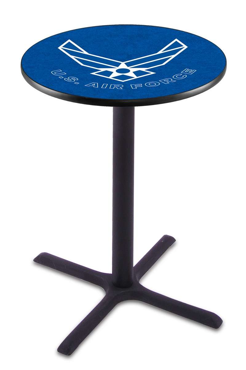 """42"""" Black Wrinkle United States Air Force Pub Table with X-Style Base"""