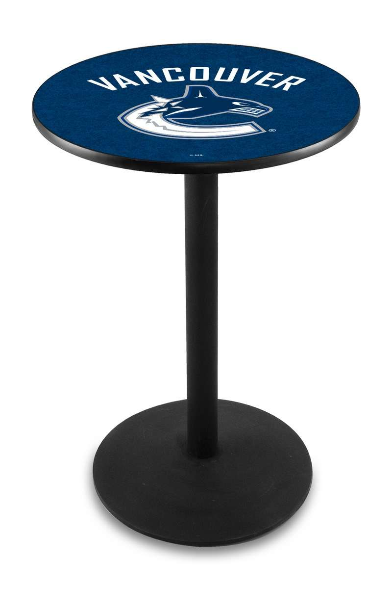 "36"" Black Wrinkle Vancouver Canucks Pub Table with Round Base"