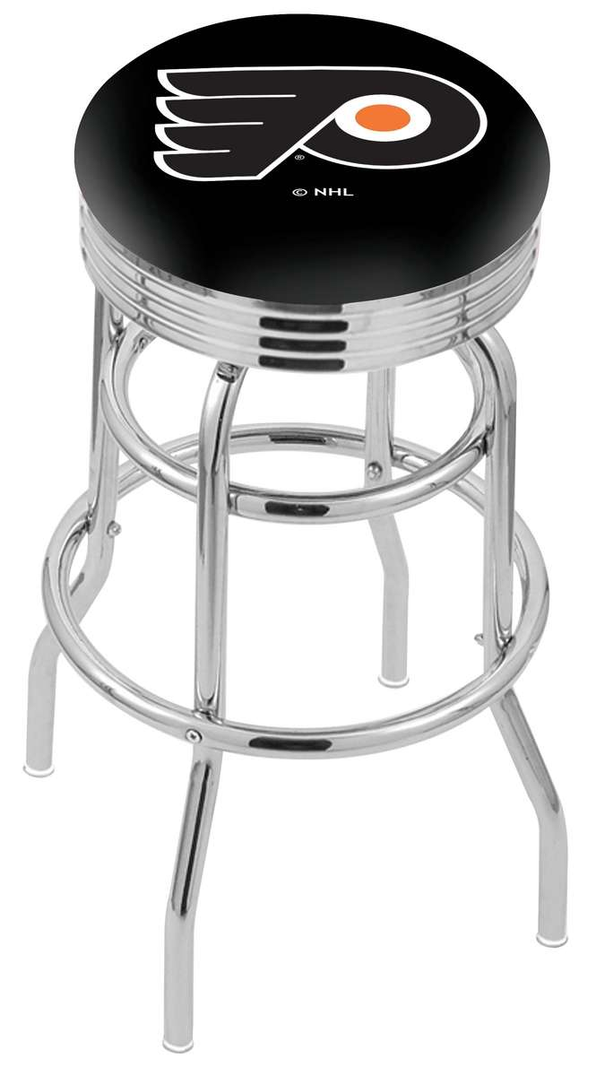 """25"""" Chrome Philadelphia Flyers (Black Background) Double-Ring Swivel Bar Stool with 2.5"""" Ribbed Accent Ring"""