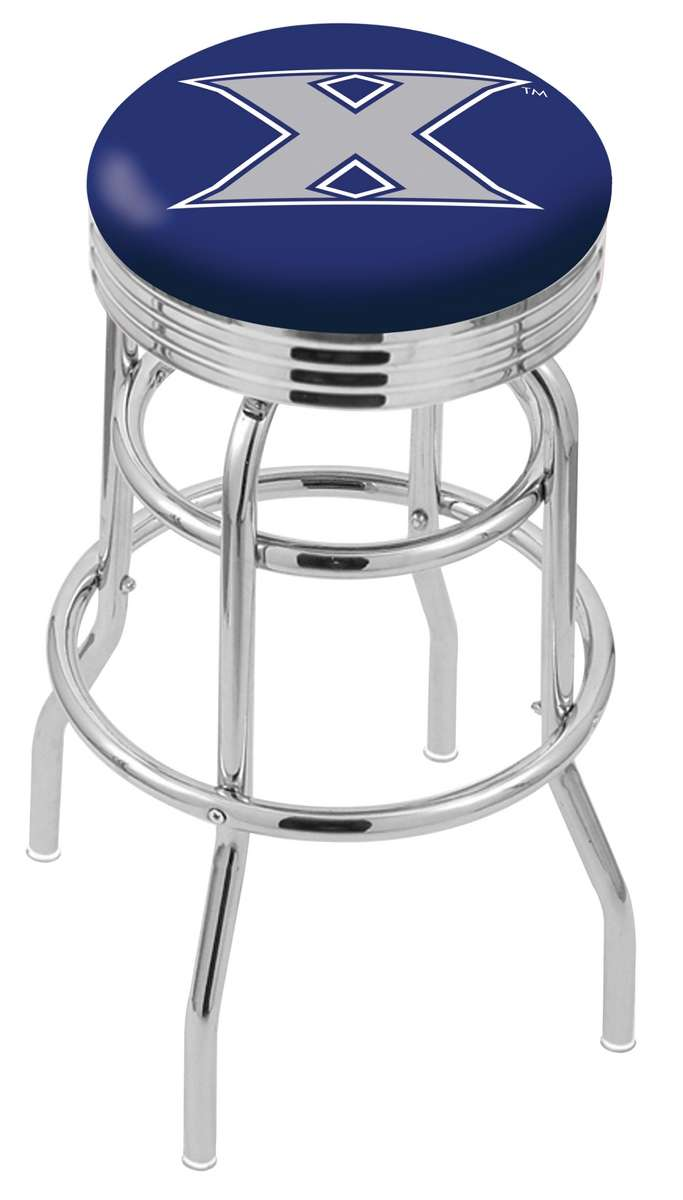 """25"""" Chrome Xavier Double-Ring Swivel Bar Stool with 2.5"""" Ribbed Accent Ring"""