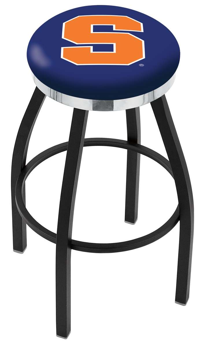 "30"" Black Wrinkle Syracuse University Swivel Bar Stool with Chrome Accent Ring"