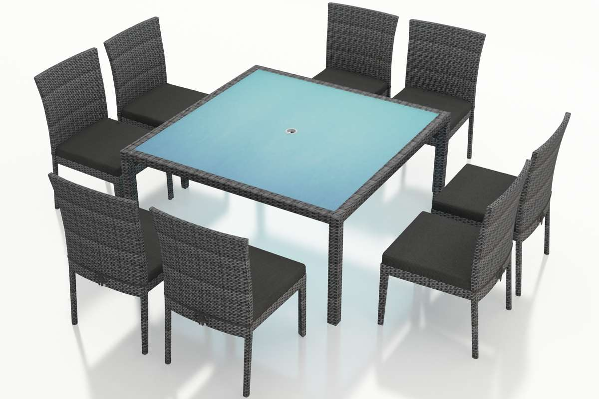 District 9-Piece Square Dining Set in Canvas Charcoal