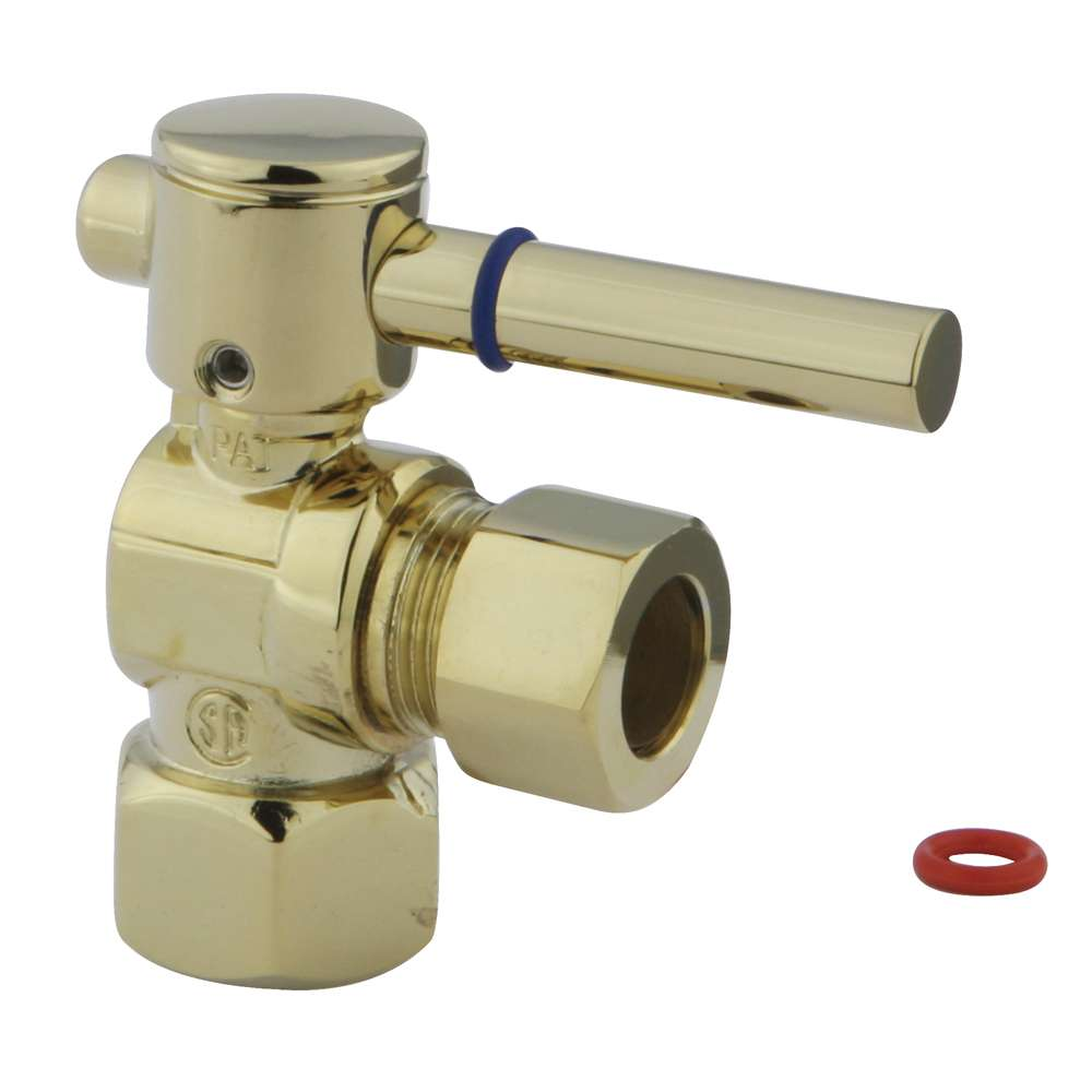 """Fauceture Polished Brass 1/2"""" IPS, 1/2"""" O.D. Compression Angle Valve"""