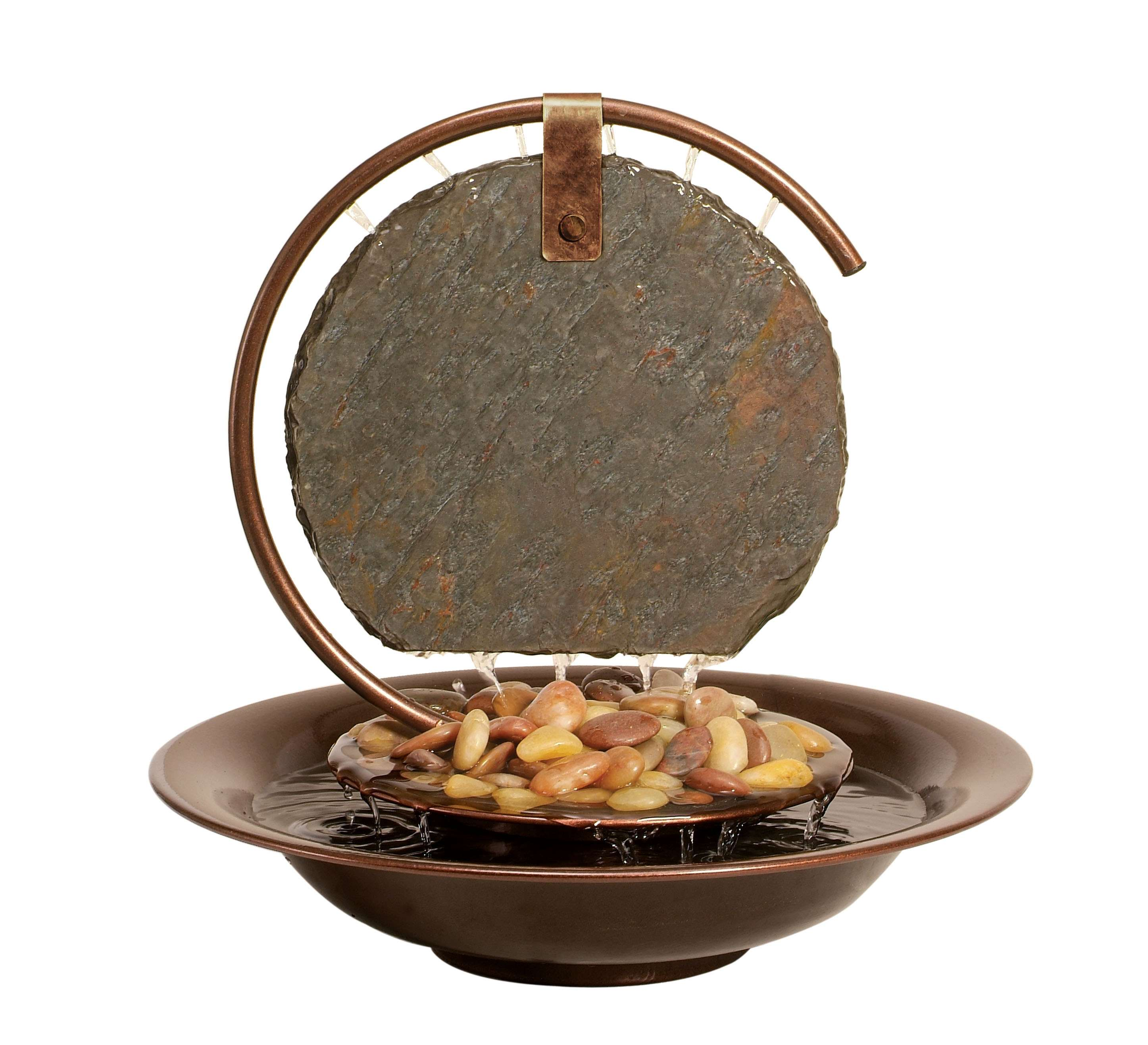 Moonshadow Solid Natural Stone Mini Tabletop Fountain with Dark Copper Trim and LED Light