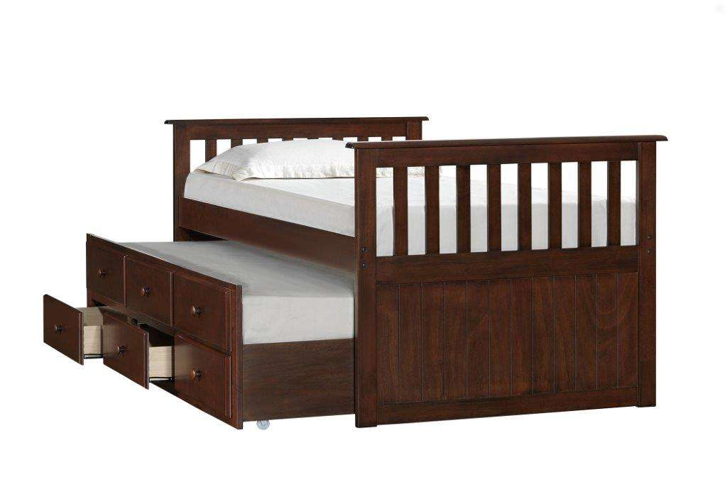 Mission Hills Chestnut Captains Bed With Trundle Unit And Storage