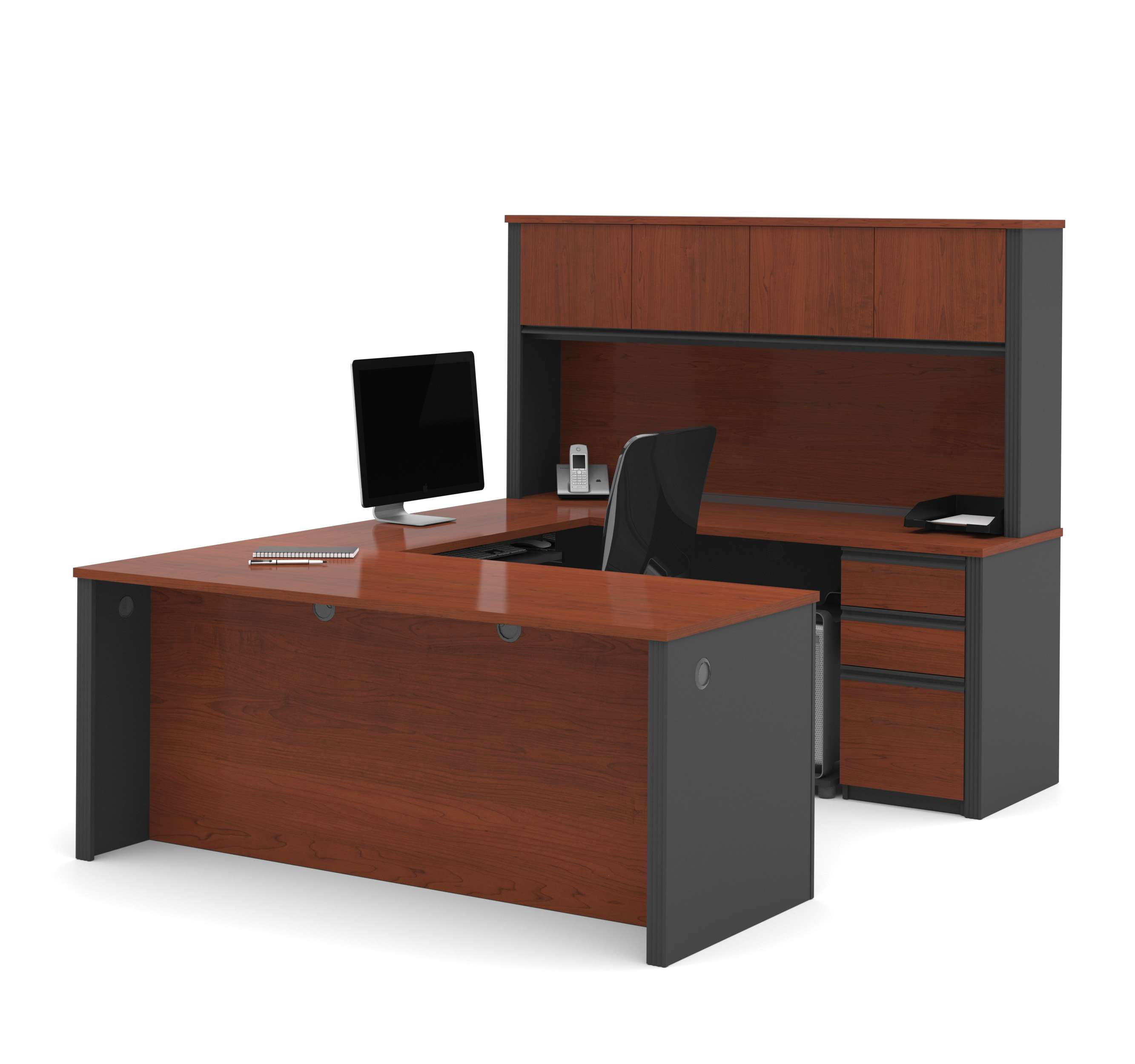 Prestige U Shaped Workstation Including Two Pedestals In Bordeaux Graphite
