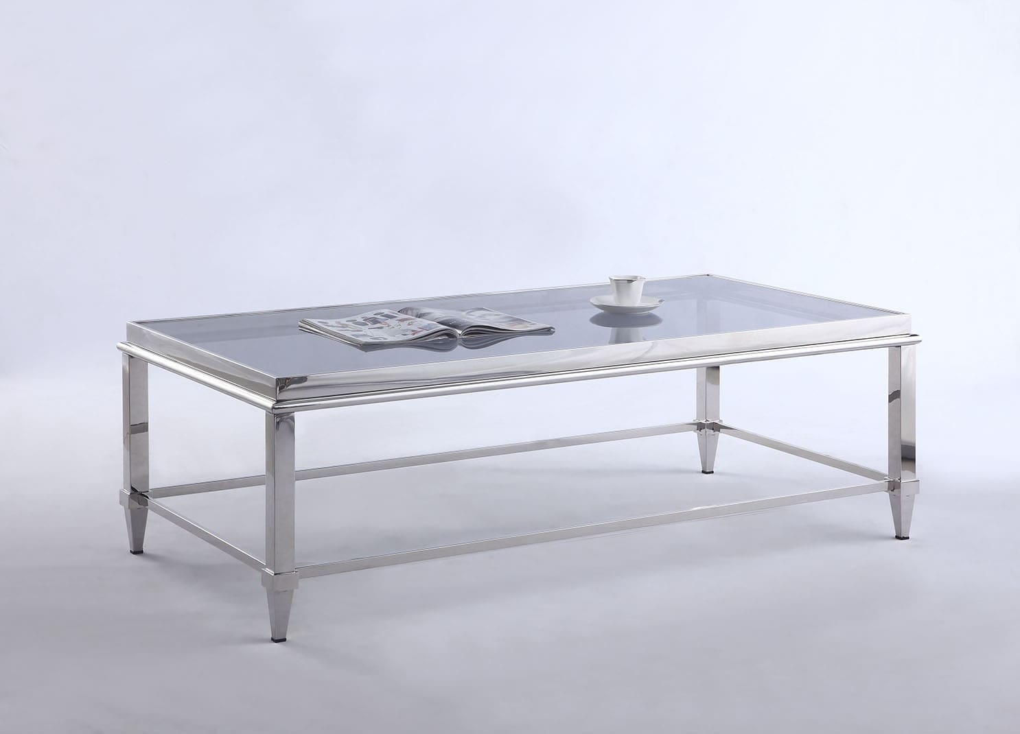 Polished Stainless Steel Rectangular Coffee Table With Glass Top