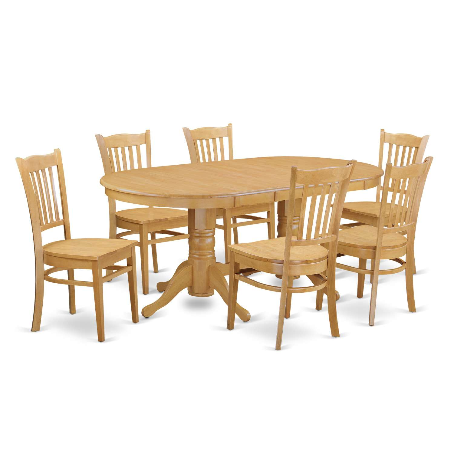 East west furniture vagr7 oak w vancouver 7 piece dining table set table with leaf and 6 dining chairs