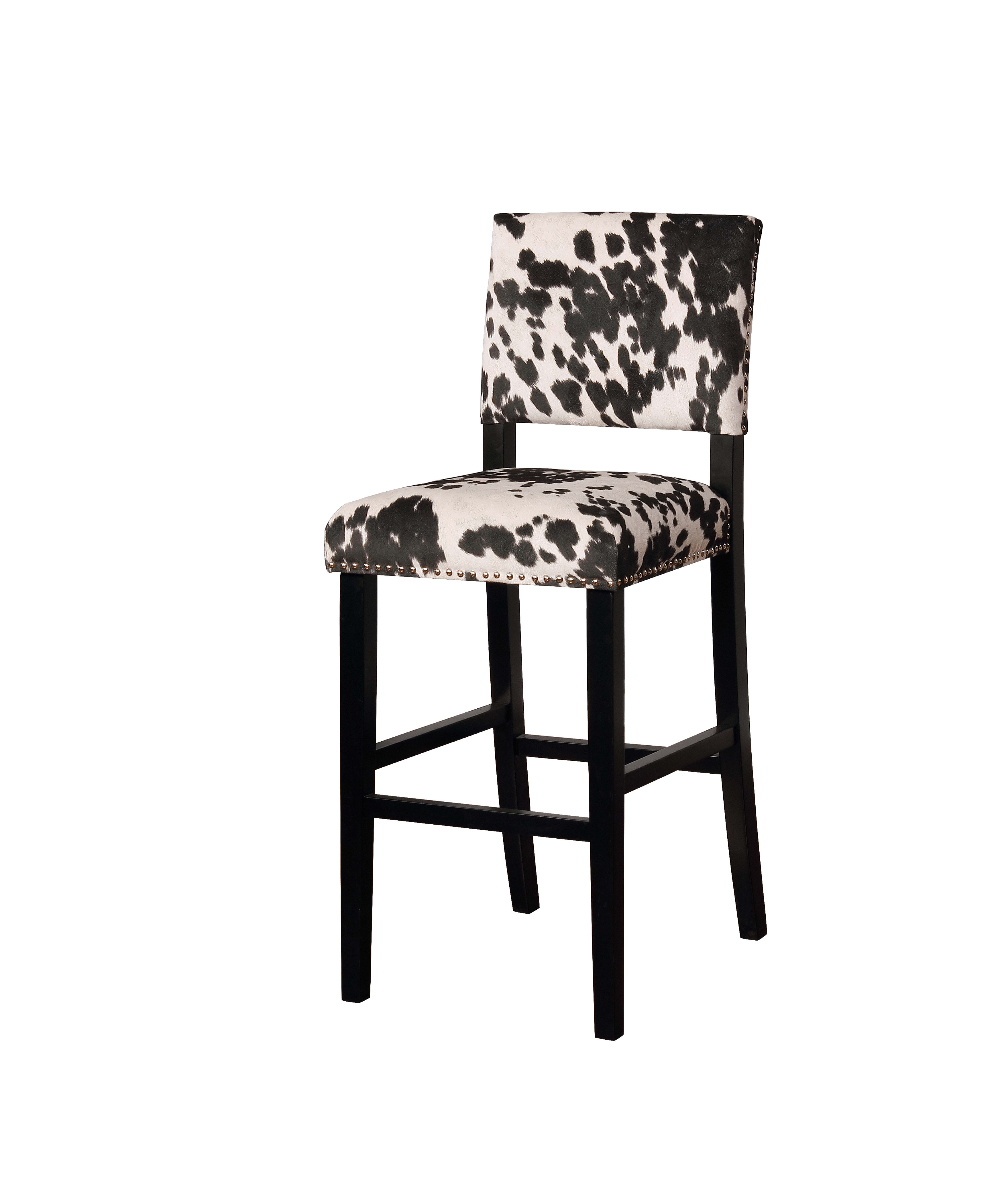 Corey Black Cow Print Bar Stool
