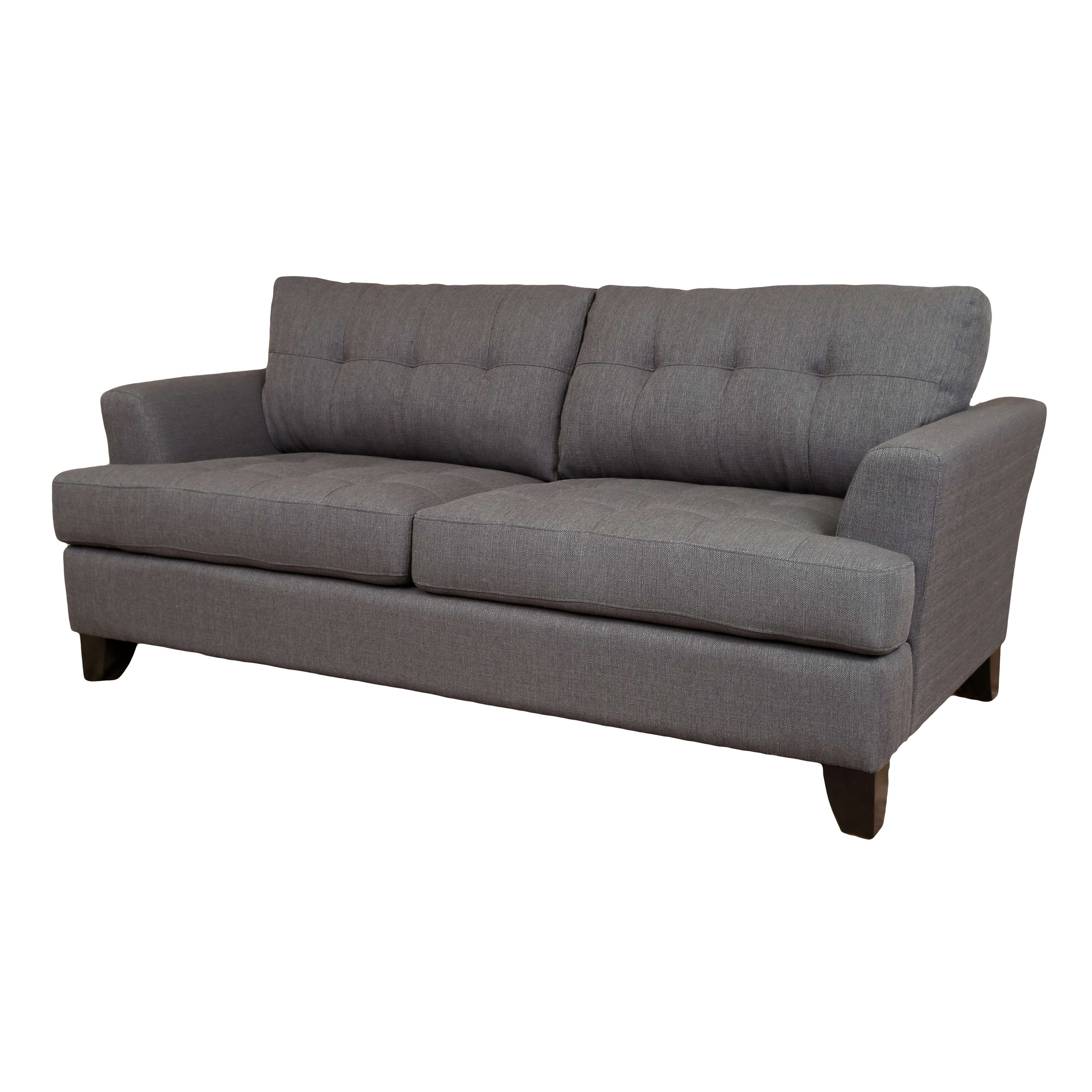 Gentil Porter Norwich Charcoal Grey Contemporary Modern Polyester Sofa With 2  Matching Throw Pillows