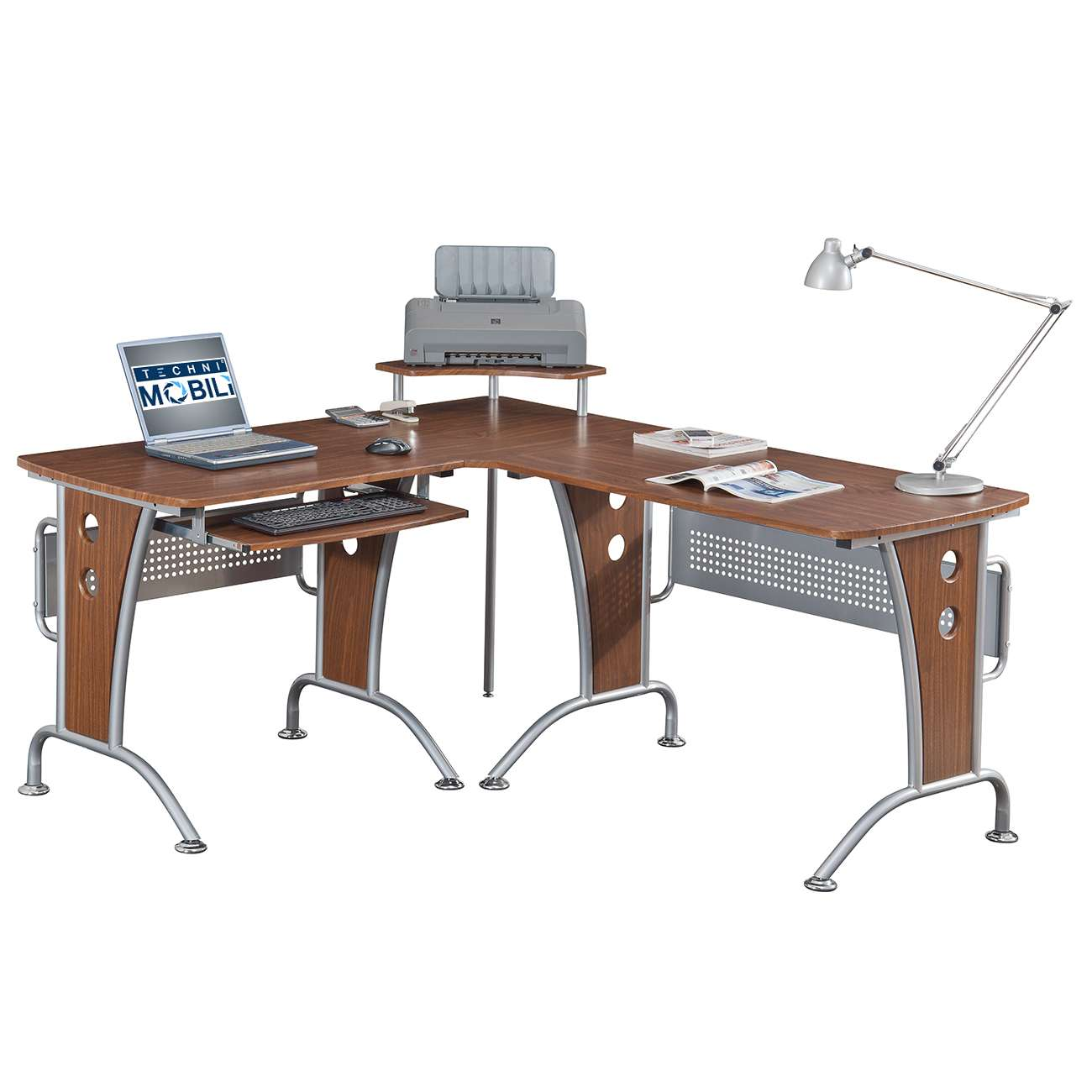Deluxe Mahogany L Shaped Frosted Glass Computer Desk With Pull Out Keyboard  Panel