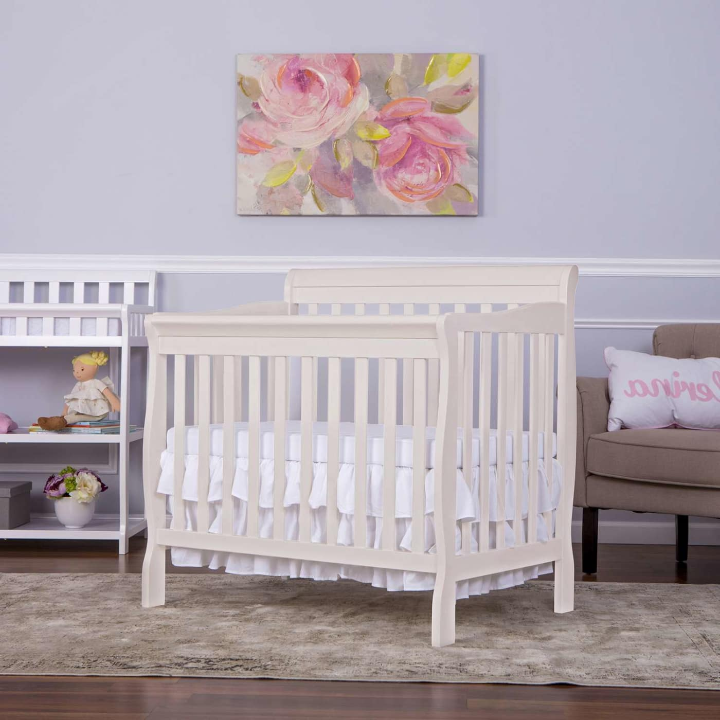 Dream On Me Aden Convertible 4 In 1 Mini Crib In French White
