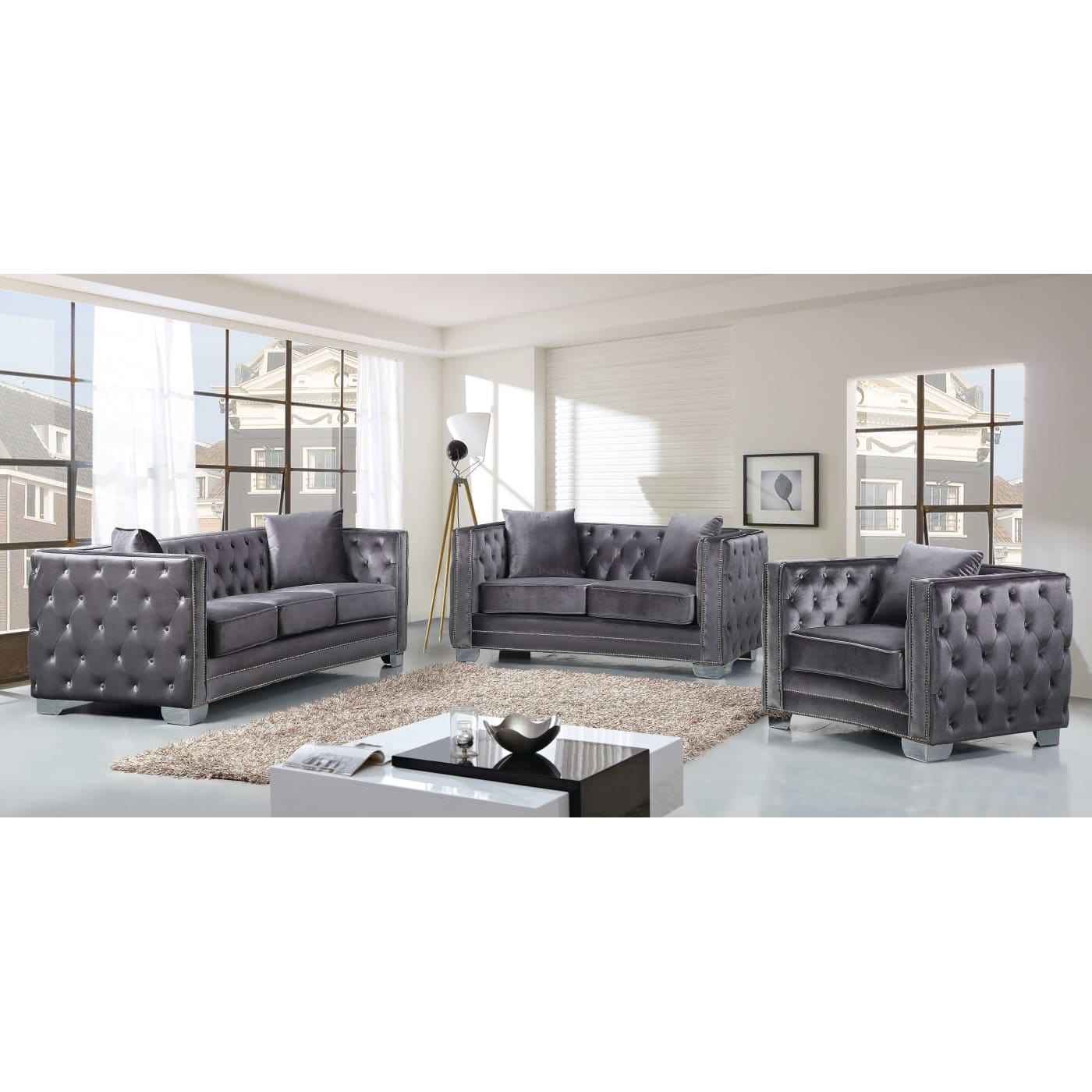 Meridian Reese Grey Velvet 3-Piece Living Room Set & Reviews ...