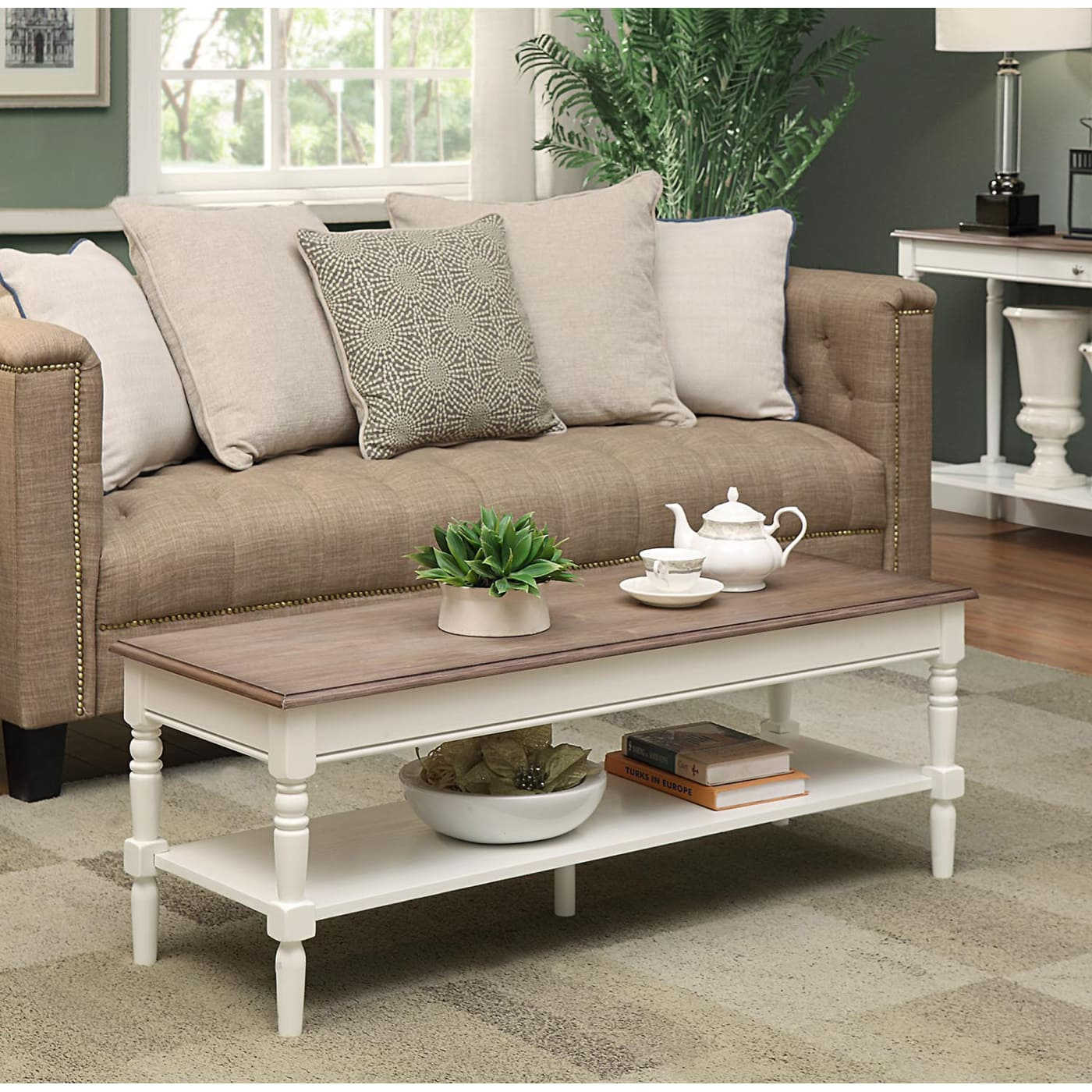 Convenience Concepts French Country Driftwood White Coffee Table - Convenience concepts french country coffee table
