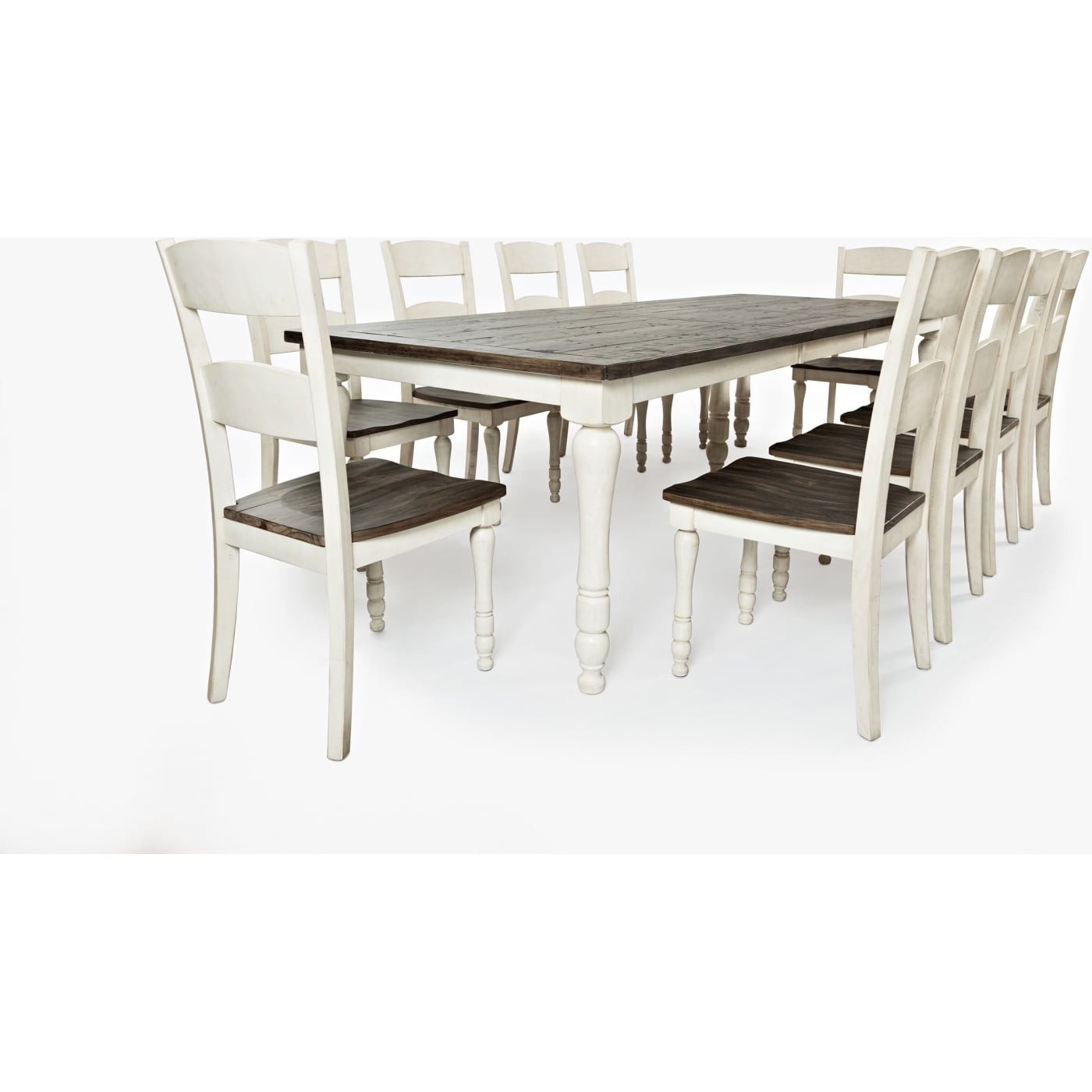 Jofran 1706 106, 1706 401KD, 1706 401KD, 1706 401KD, 1706 401KD,  1706 401KD. Madison County Vintage White Rectangular Table 11 Piece Dining  Set