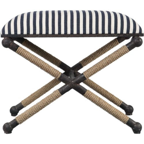 Uttermost Braddock Rustic Iron Small Bench With Rope