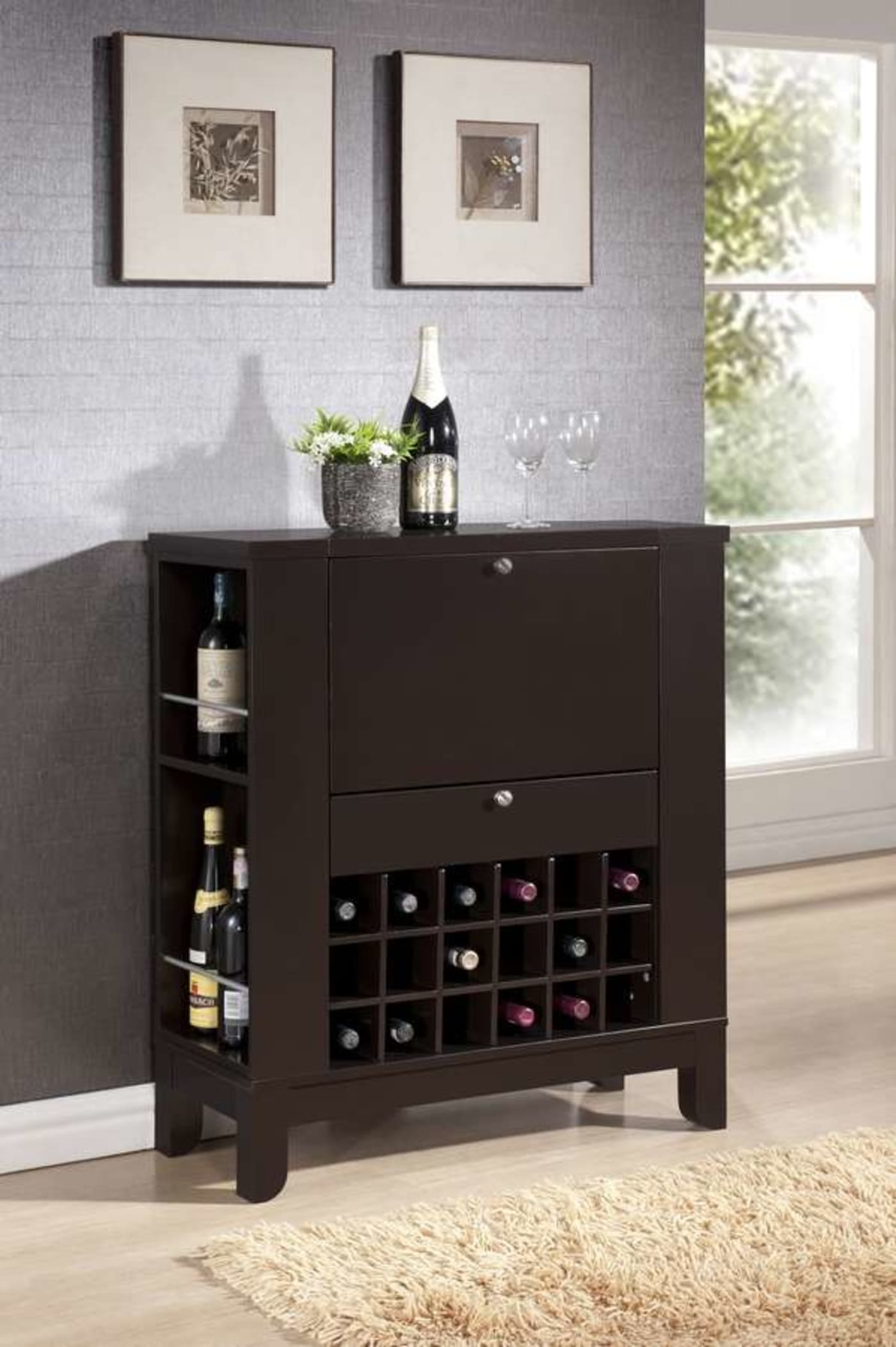 Modesto Auto Sales >> Baxton Studio Modesto Dark Brown Modern Dry Bar And Wine Cabinet & Reviews - Goedekers.com