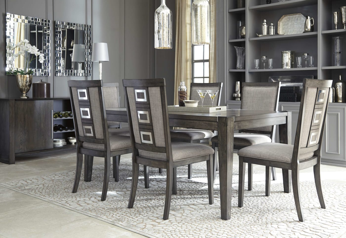Grey Dining Room Chairs: Signature Design By Ashley Chadoni Gray 8 Piece Rectangle