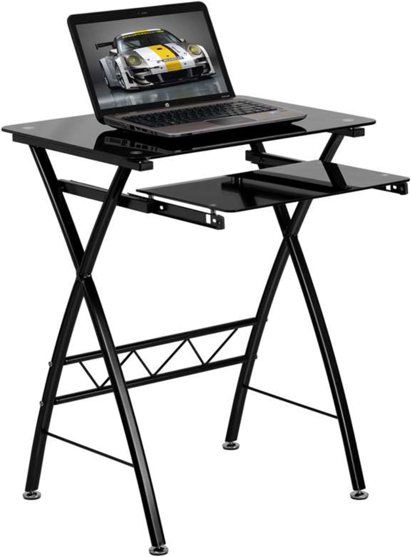 Flash Furniture Black Tempered Glass Computer Desk With