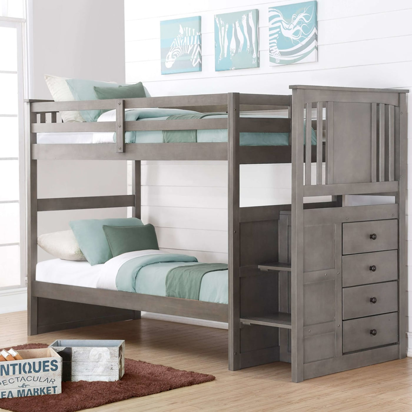 Donco Trading Company Slat Gray Twin Stairway Bunk Bed Reviews