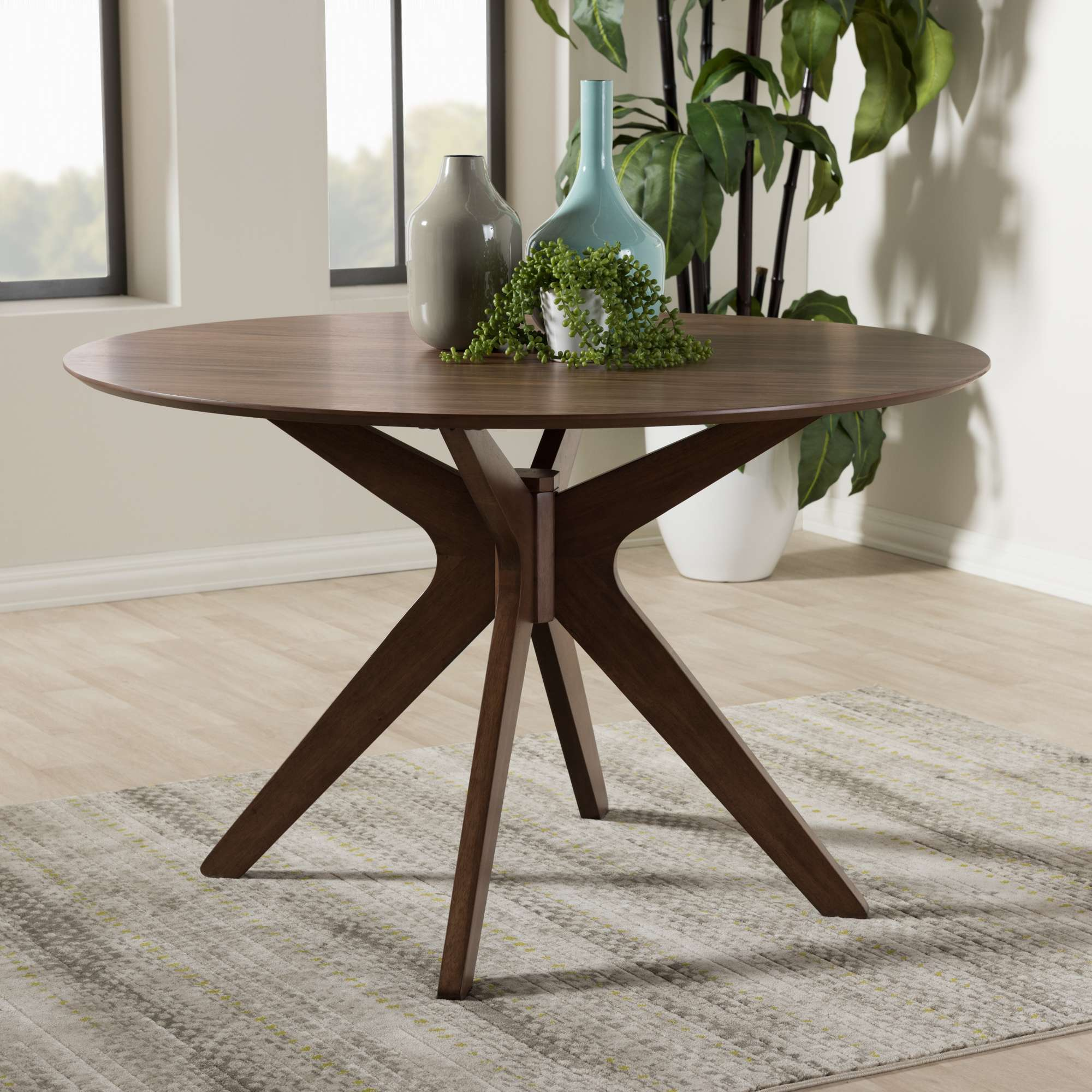 Monte Mid Century Modern Walnut 47 Inch Round Dining Table