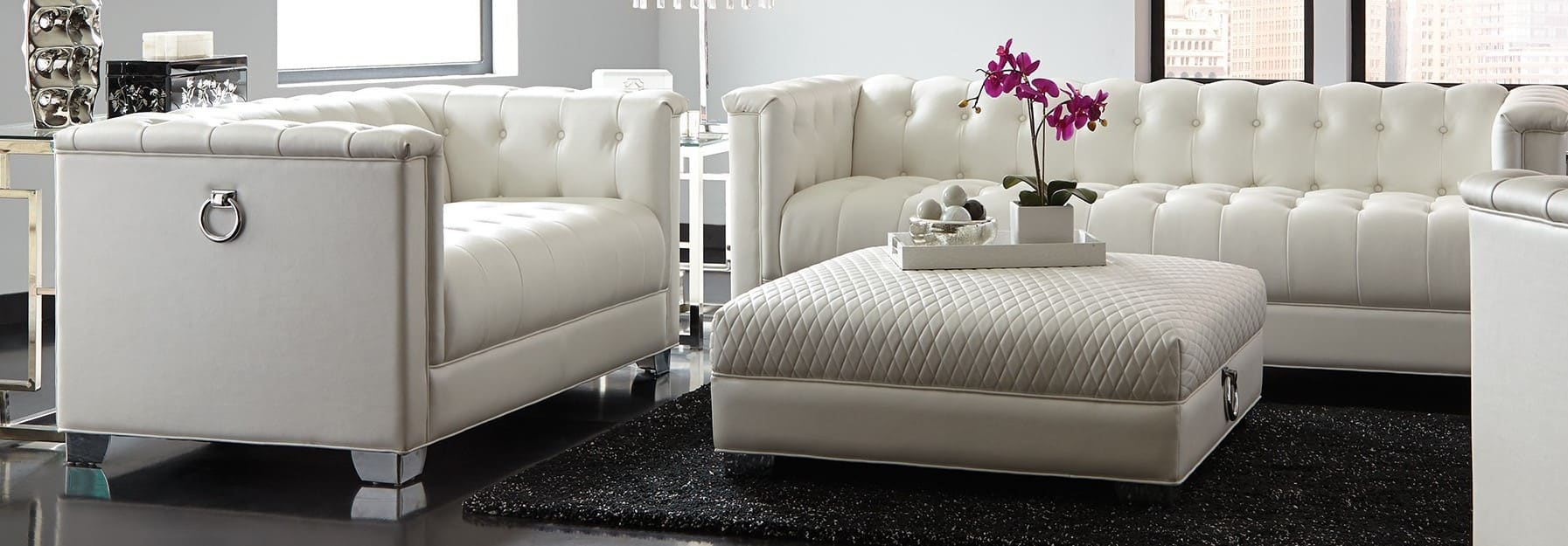 Coaster Chaviano Pearl White 2-Piece Living Room Set & Reviews -  Goedekers.com