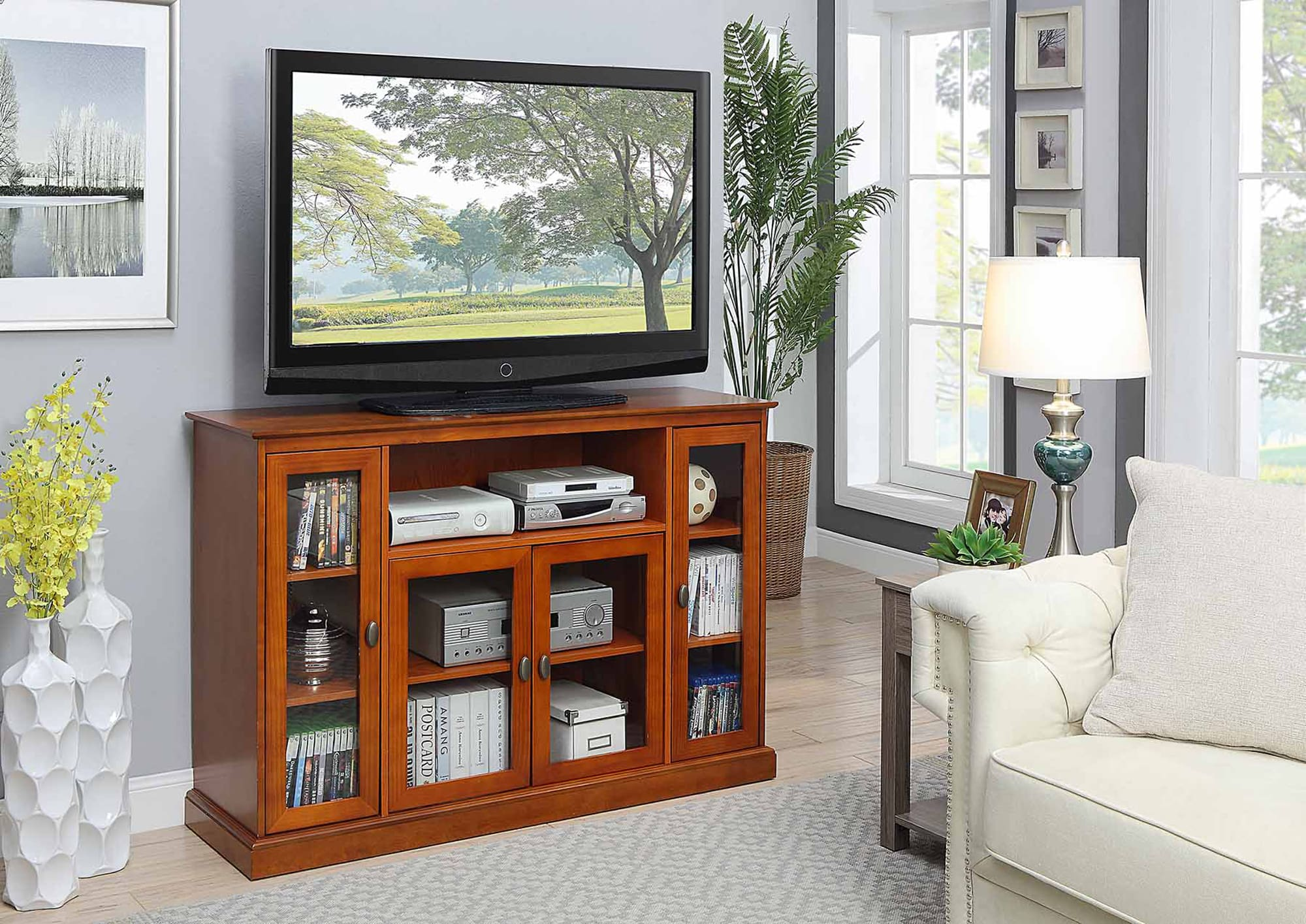 Convenience Concepts Designs2go Cherry Summit Highboy Tv Stand
