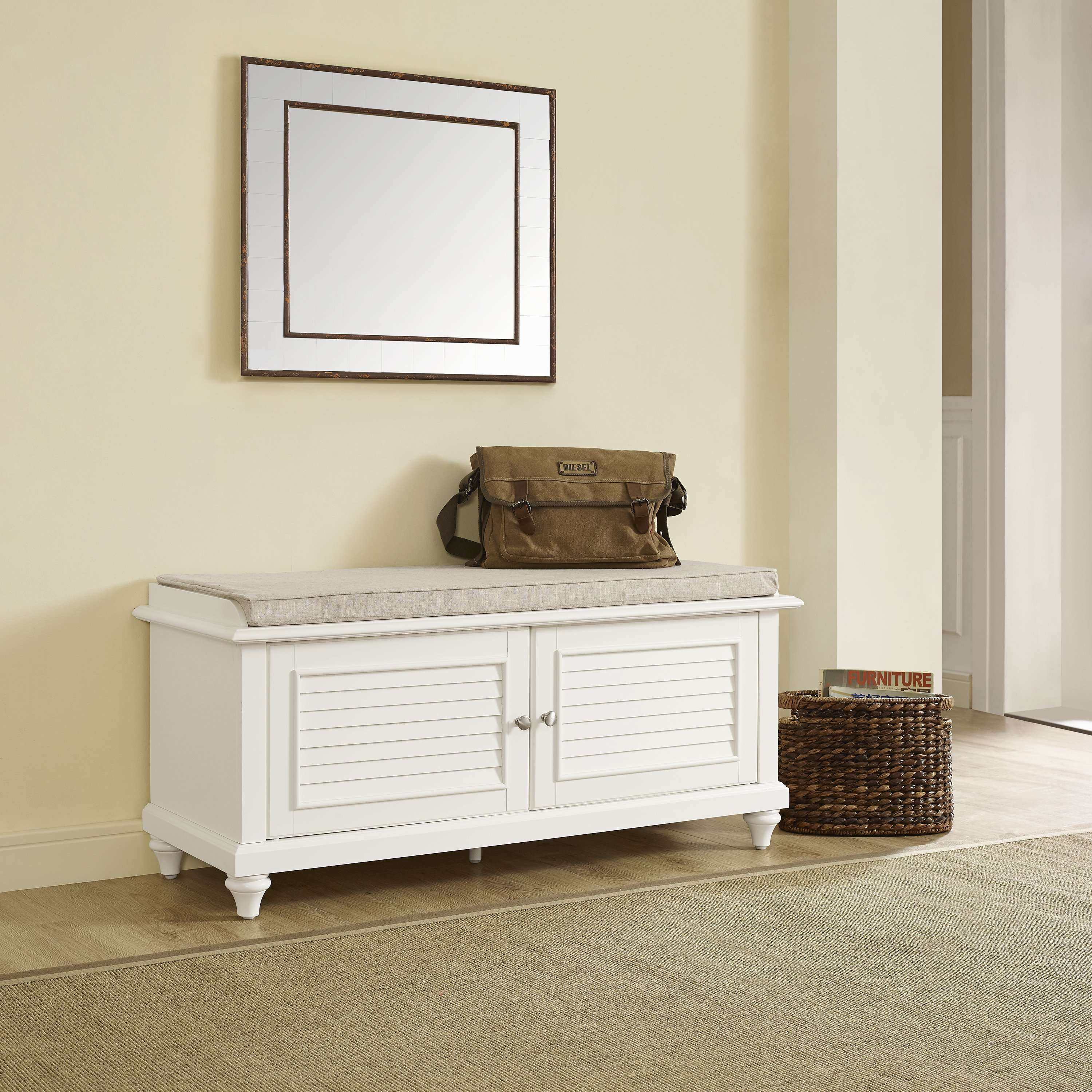 Palmetto white entryway bench
